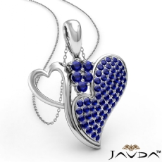 <Dcarat> Round Sapphire Gemstone Double Heart Pendant Necklace In 18k Gold White<Gcarat>