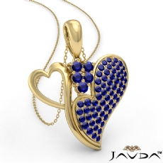 <Dcarat> Round Sapphire Gemstone Double Heart Pendant Necklace In 14k Gold Yellow<Gcarat>