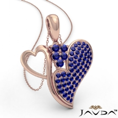 <Dcarat> Round Sapphire Gemstone Double Heart Pendant Necklace In 14k Rose Gold<Gcarat>