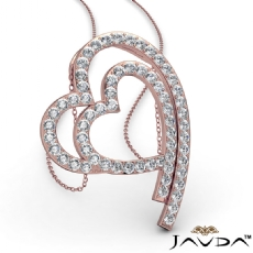 Shadowed Double Heart Diamond Pendant Necklace 14k Rose Gold  (0.64Ct. tw.)