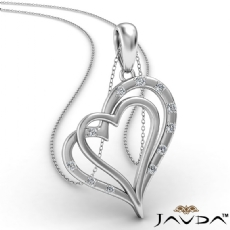 Two Heart Round Diamond Pendant Necklace In 18k Gold White  (0.15Ct. tw.)