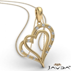 Two Heart Round Diamond Pendant Necklace In 14k Gold Yellow  (0.15Ct. tw.)
