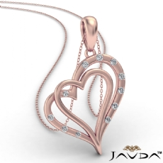 Two Heart Round Diamond Pendant Necklace In 14k Rose Gold  (0.15Ct. tw.)