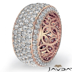 4 Row Pave Round Diamond Women Eternity Wedding Band 9.7mm Ring 14k Rose Gold (3.5Ct. tw.)