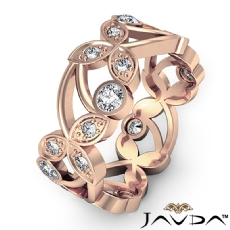 Floral Womens Eternity Ring Round Cut Diamond Wedding Band 14k Rose Gold  (0.9Ct. tw.)