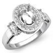 3 Stone Diamond Anniversary Round Oval Cut Setting Ring 14k White Gold Semi Mount 1.05Ct - javda.com