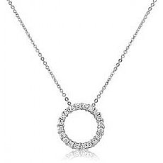 0.40Ct Round Diamond Circle of Life Pendant 14k White Gold