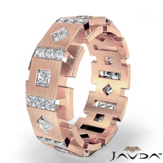 Princess Diamond Box & Kite Eternity Men's Wedding Band in 18k Rose Gold  (3Ct. tw.)