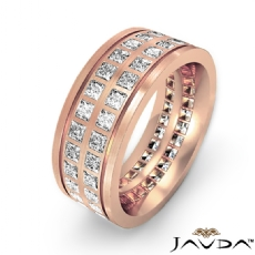 Double Row Princess Diamond Men's Eternity Wedding Band 14k Rose Gold  (3Ct. tw.)