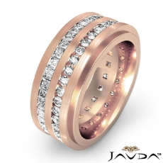 2 Row Men's Round & Princess Diamond Eternity Wedding Band 18k Rose Gold  (2.5Ct. tw.)
