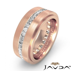 Channel Princess Diamond Eternity Men's Wedding Band in 18k Rose Gold (1.7Ct. tw.)