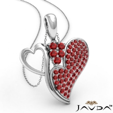 <Dcarat> Round Ruby Gemstone Double Heart Pendant Necklace 18k Gold White