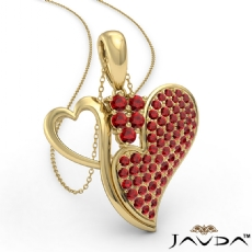 <Dcarat> Round Ruby Gemstone Double Heart Pendant Necklace 14k Gold Yellow
