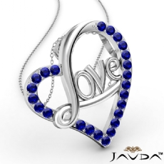 Love Script Heart Pendant Necklace Round Sapphire Gemstone 18k Gold White <Dcarat>