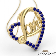 Love Script Heart Pendant Necklace Round Sapphire Gemstone 14k Gold Yellow <Dcarat>