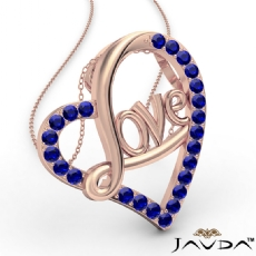 Love Script Heart Pendant Necklace Round Sapphire Gemstone 14k Rose Gold <Dcarat>