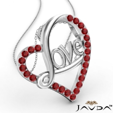 Love Script Heart Pendant Necklace Round Ruby Gemstone 18k Gold White <Dcarat>