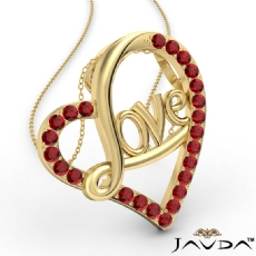 Love Script Heart Pendant Necklace Round Ruby Gemstone 14k Gold Yellow <Dcarat>