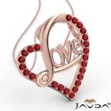 Love Script Heart Pendant Necklace Round Ruby Gemstone 14k Rose Gold <Dcarat>