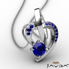 Round Sapphire Gemstone Accent Heart Pendant Necklace 18k Gold White <Dcarat>