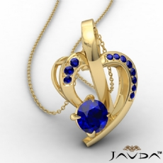 Round Sapphire Gemstone Accent Heart Pendant Necklace 14k Gold Yellow <Dcarat>