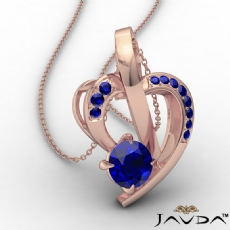 Round Sapphire Gemstone Accent Heart Pendant Necklace 14k Rose Gold <Dcarat>
