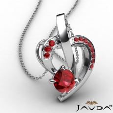 Round Ruby Gemstone Accent Heart Pendant Necklace 18k Gold White <Dcarat>