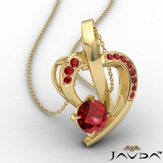 Round Ruby Gemstone Accent Heart Pendant Necklace 14k Gold Yellow <Dcarat>