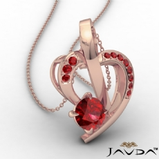 Round Ruby Gemstone Accent Heart Pendant Necklace 14k Rose Gold <Dcarat>