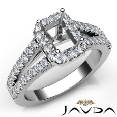 Gorgeous Halo Prong Diamond Engagement Emerald Semi Mount Ring 14K W Gold 0.75Ct