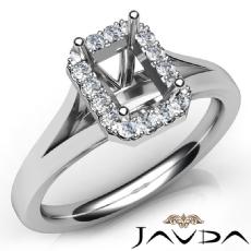 Diamond Engagement Emerald Semi Mount 14K W Gold Halo Pave Setting Ring 0.20Ct