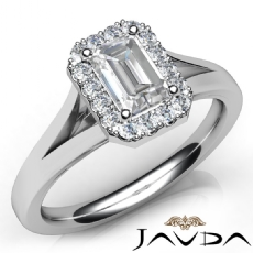 Split Shank Halo Pave Setting Emerald diamond engagement Ring in 14k Gold White