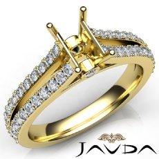 Diamond Engagement Split Shank Setting Emerald Semi Mount Ring 14k Gold Yellow  (0.65Ct. tw.)