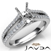 Diamond Engagement Split Shank Setting Emerald Semi Mount Ring 14k White Gold 0.65Ct - javda.com