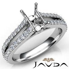 Diamond Engagement Split Shank Setting Emerald Semi Mount Ring Platinum 950  (0.65Ct. tw.)