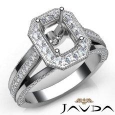 Halo Pave Diamond Engagement Emerald Semi Mount Millgrain Ring 14K W Gold 0.90Ct
