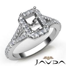 Diamond Engagement 14K W Gold Halo Pave Setting Emerald Semi Mount Ring 0.50Ct