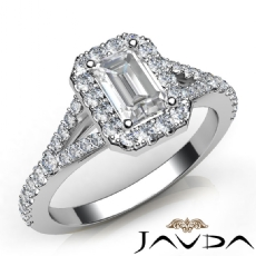 Halo U Cut Pave Sidestone Emerald diamond engagement Ring in 14k Gold White