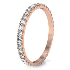 Micro Prong Round Diamond Women Eternity Ring 14k Rose Gold Wedding Band  (0.6Ct. tw.)