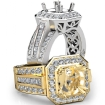 Antique & Vintage Engagement Halo Diamond Ring Semi Mount 14k White Gold Setting 1.65Ct - javda.com