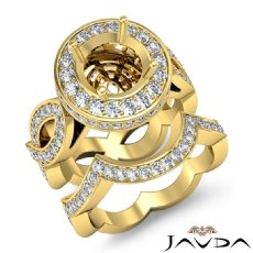 Diamond Engagement Band Bridal Set 14k Gold Yellow Halo Pave Setting Ring  (1.8Ct. tw.)