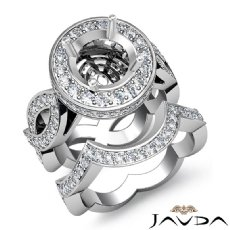 Diamond Engagement Band Bridal Set 14K White Gold Halo Pave Setting Ring 1.80Ct
