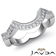 Round Pave Setting Diamond Women's Half wedding Band 14k White Gold Ring 0.50Ct