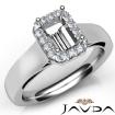 Emerald Diamond Engagement Halo Pave Setting Semi Mount Ring 14k White Gold 0.2Ct - javda.com