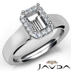Emerald Diamond Engagement Halo Pave Setting Semi Mount Ring 14K W Gold 0.20Ct