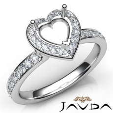 Diamond Engagement Halo Pave Setting Heart Semi Mount Ring 14K White Gold 0.45Ct