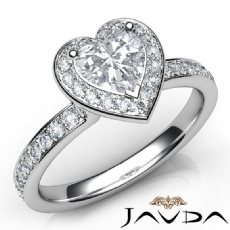 Halo Pave Setting Side Stone Heart diamond engagement Ring in 14k Gold White
