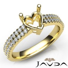 U Shape Prong Setting Diamond Engagement Heart Semi Mount Ring 14k Gold Yellow  (0.5Ct. tw.)