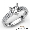U Shape Prong Setting Diamond Engagement Heart Semi Mount Ring 14k White Gold 0.5Ct - javda.com