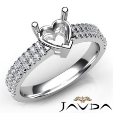 U Shape Prong Setting Diamond Engagement Heart Semi Mount Ring 14K W Gold 0.50Ct
